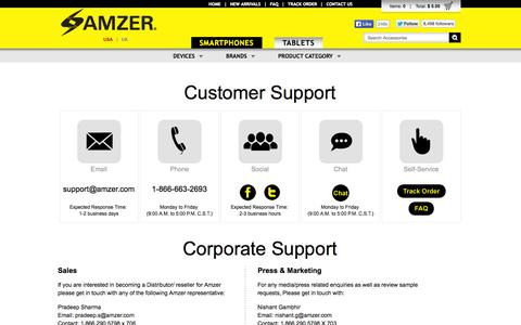Screenshot of Contact Page amzer.com - Amzer | Customer Support and Corporate Contacts - captured Sept. 24, 2014
