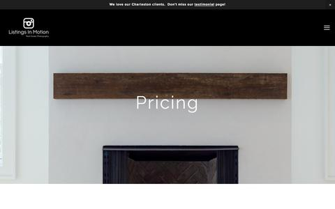Screenshot of Pricing Page listingsinmotion.com - Real Estate Photography and Virtual Tour Pricing in Charleston and Greenville South Carolina — Listings In Motion   Real Estate Photography - captured July 21, 2018