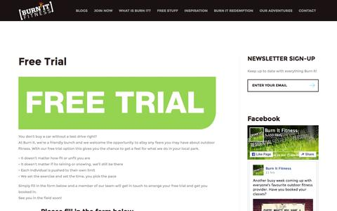 Screenshot of Trial Page burnit.co - Free Trial - Burn It Fitness - captured Feb. 8, 2016