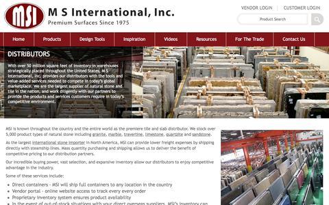 Screenshot of msistone.com - Distributors | M S International, Inc. | Premium Surfaces - captured June 9, 2016