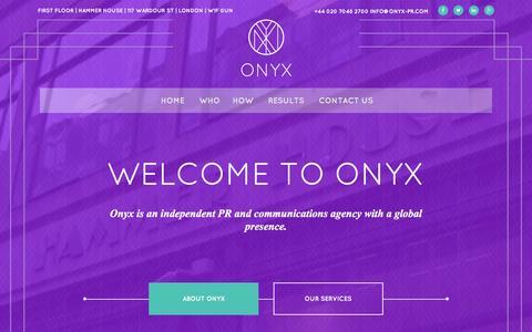 Screenshot of Home Page onyx-pr.com - Introduction to Onyx | Onyx - captured Feb. 14, 2016