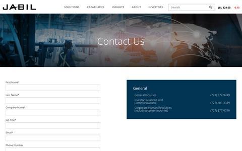Screenshot of Contact Page jabil.com - Contact | Jabil - captured Nov. 20, 2018