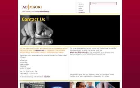 Screenshot of Contact Page abmauri.com - AB MAURI   Global Expertise, Local Knowledge   We Know Baking! - captured Nov. 19, 2016