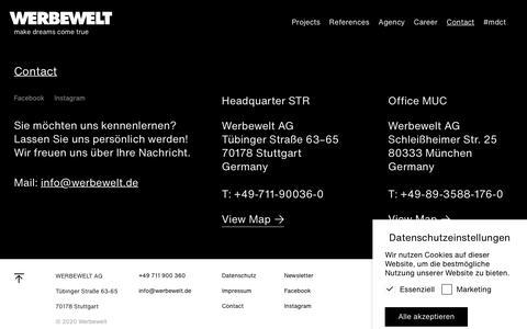 Screenshot of Contact Page werbewelt.de - Contact WERBEWELT WERBEAGENTUR STUTTGART MÜNCHEN - captured Feb. 8, 2020