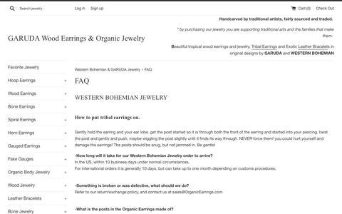 Screenshot of FAQ Page westernbohemian.com - FAQ | GARUDA Wood Earrings & Organic Jewelry | Fair Trade Jewelry - captured Nov. 2, 2018
