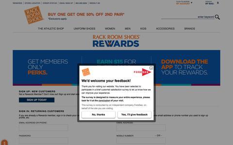 Screenshot of Login Page rackroomshoes.com - Rack Room Shoes Rewards | Rack Room Shoes - captured Aug. 7, 2017