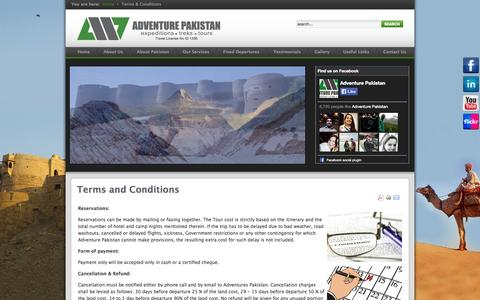 Screenshot of Terms Page adventurepakistan.com - Terms and Conditions | AP - captured Sept. 30, 2014