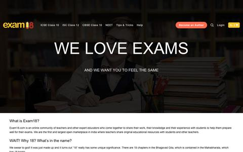 Screenshot of About Page exam18.com - About Us - Exam18 - captured Dec. 8, 2018