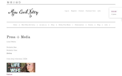 Screenshot of Press Page missevilkitty.com - Press + Media | - captured Oct. 7, 2014