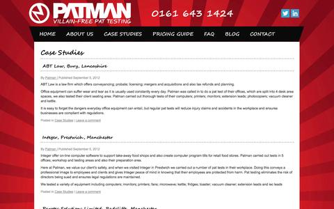 Screenshot of Case Studies Page patman1.com - Case Studies - captured Oct. 2, 2014