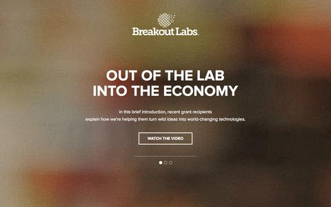Screenshot of Home Page breakoutlabs.org - Home « Breakout Labs Breakout Labs - captured Sept. 30, 2014