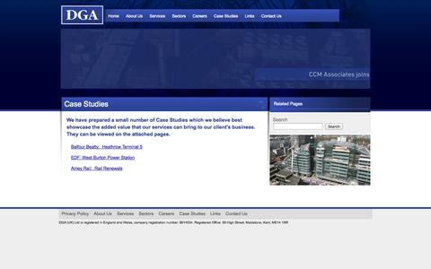 Screenshot of Case Studies Page dga.eu.com - DGA (UK) Ltd - Case Studies - captured Oct. 5, 2014