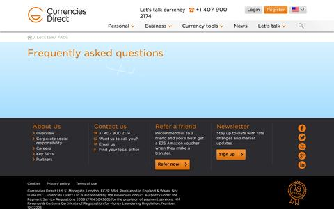 Screenshot of FAQ Page currenciesdirect.com - FAQs | Currencies Direct - captured Oct. 28, 2014