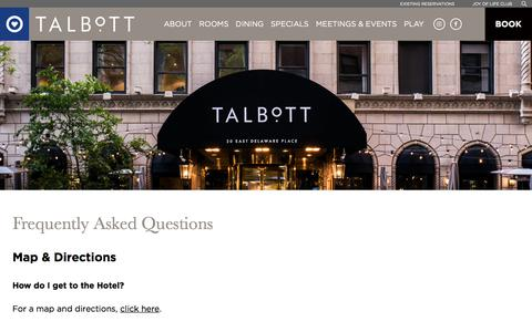 Screenshot of FAQ Page jdvhotels.com - Five Star Hotel In Chicago's Gold Coast | FAQ | The Talbott Hotel - captured Sept. 25, 2018