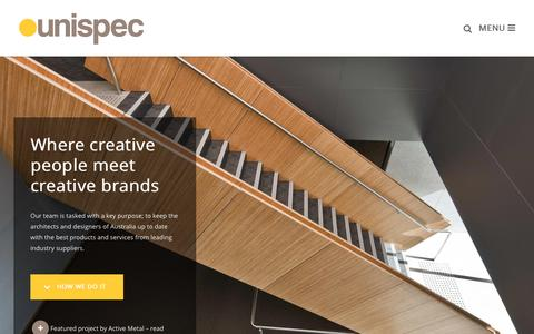 Screenshot of Home Page unispec.com.au - Unispec - Australia's go to website for everything architecture. - captured Sept. 5, 2015
