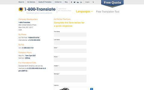 Screenshot of Contact Page 1-800-translate.com - Contact 1-800-translate | professional translation Agency - captured Sept. 23, 2014