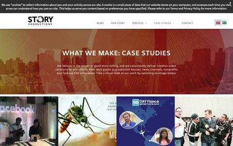 Screenshot of Case Studies Page storyproductions.com - Story Productions Brazil | Your story told through video - captured Oct. 18, 2018