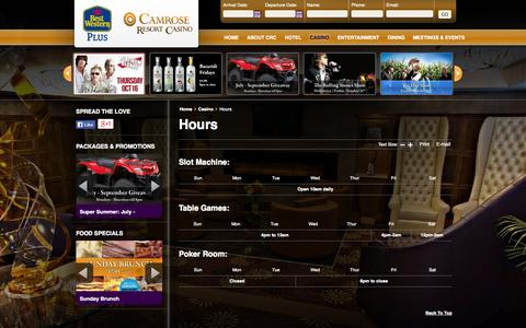 Screenshot of Hours Page camroseresortcasino.com - Hours | BEST WESTERN PLUS Camrose Resort Casino | One of Alberta's Best Resort Casino Destination - captured Oct. 5, 2014