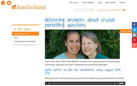 Screenshot of Press Page handinhandparenting.org - In the News | Hand in Hand Parenting - captured May 14, 2017