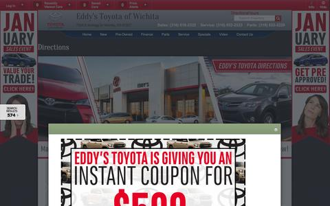 Screenshot of Maps & Directions Page eddystoyota.com - Directions to Eddy's Toyota | From North, South, East & West of Wichita, Kansas - captured Jan. 26, 2016