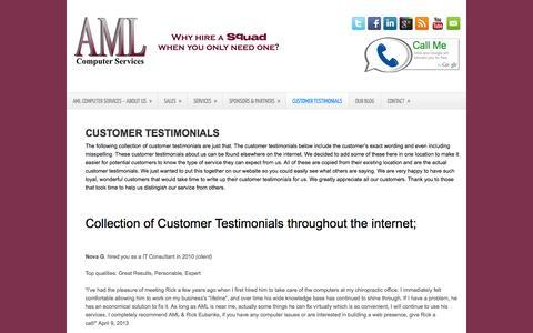 Screenshot of Testimonials Page amlcomputerservices.com - Customer Testimonials | AML Computer Services, LLC - captured Sept. 30, 2014