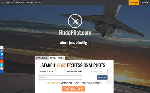 Screenshot of Home Page findapilot.com - Pilot Jobs and Pilot Search | FindaPilot.com - captured Feb. 6, 2016