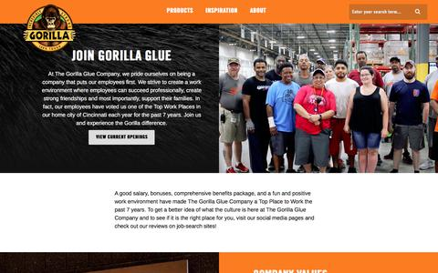 Screenshot of Jobs Page gorillatough.com - Careers   Gorilla Glue - captured Jan. 11, 2018