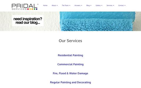 Screenshot of Services Page pridal.com.au - Our Services - captured Jan. 31, 2016