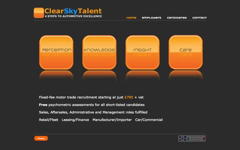Screenshot of Contact Page clearskytalent.com - Home - ClearSky - captured Sept. 29, 2014