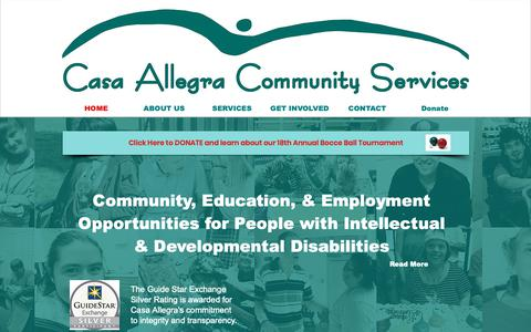 Screenshot of Home Page casaallegra.org - Casa Allegra Community Services - captured Sept. 27, 2018