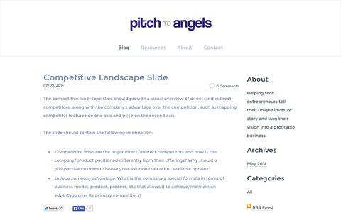 Screenshot of Home Page Blog pitchtoangels.com - pitch to angels - Blog - captured Oct. 2, 2014