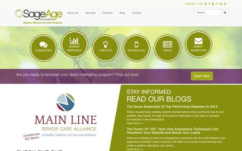 Screenshot of Home Page sageagestrategies.com - Senior Living Marketing and Business Growth Experts | Sage Age Strategies - captured Jan. 21, 2015