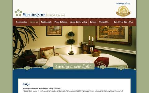 Screenshot of FAQ Page morningstarseniorliving.com - FAQs:MorningStar Senior Living, Denver Colorado Arizona - captured Oct. 26, 2014