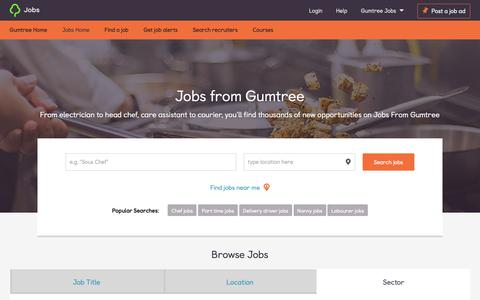 Screenshot of Jobs Page gumtree.com - Job search on Gumtree | Find your ideal job from 47565 vacancies - captured Jan. 12, 2019