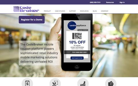 Screenshot of Home Page codebroker.com - Mobile Coupon Marketing Solutions for Retailers   CodeBroker - captured Feb. 26, 2017