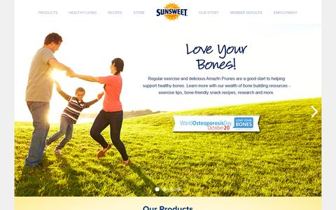 Screenshot of Home Page sunsweet.com - Sunsweet® Welcomes You! - captured Oct. 1, 2015