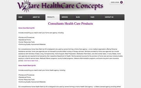 Screenshot of Products Page volarehealthcare.com - Consultants Health Care Products | Volare HealthCare Concepts - captured Oct. 26, 2014