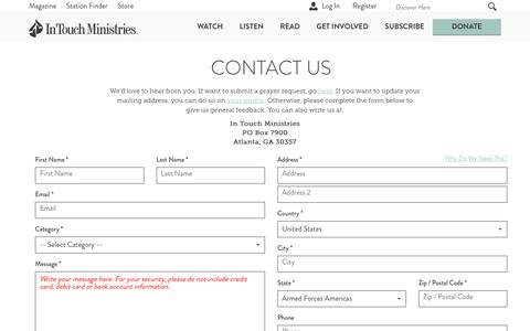 Screenshot of Contact Page intouch.org - Contact Us - captured June 8, 2017