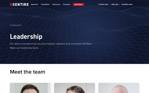 Screenshot of Team Page esentire.com - Esentire | Leadership - captured Feb. 20, 2020