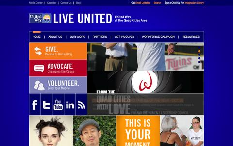 Screenshot of Home Page unitedwayqc.org - Home | United Way of the Quad Cities Area - captured Oct. 6, 2014