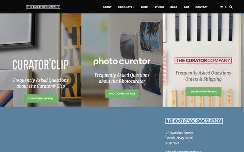 Screenshot of FAQ Page curator.com.au - FAQs - The Curator Company - captured Feb. 16, 2016