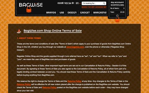 Screenshot of Terms Page bagwise.com - Legal Information on BagWise Terms and Conditions of Sale    Bagwise.Com - captured Dec. 28, 2015
