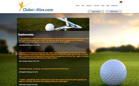 Screenshot of Testimonials Page clubstohire.com - Golf Clubs Hire, Golf Club Rental, Faro Golf Hire Rental, Algarve Golf Club Hire,Algarve Golf Club Hire - captured Sept. 30, 2014