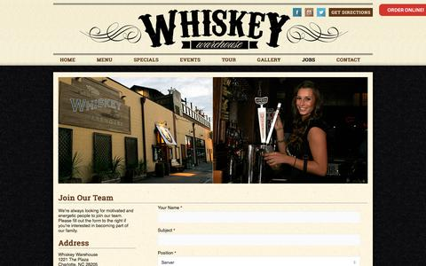 Screenshot of Jobs Page whiskeywarehouse.com - Jobs « Whiskey Warehouse - captured Nov. 5, 2017