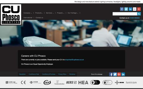 Screenshot of Jobs Page cuphosco.com - Lighting Design and Manufacturing Careers at CU Phosco - captured Jan. 23, 2016