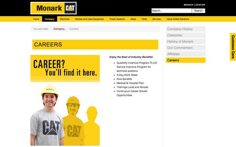 Screenshot of Jobs Page monark-cat.com - Careers - captured Nov. 2, 2014