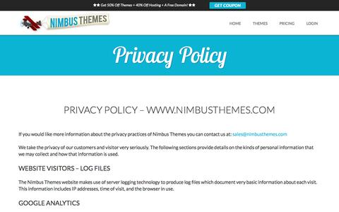Screenshot of Privacy Page nimbusthemes.com - Privacy Policy - Nimbus Themes - captured Dec. 5, 2016