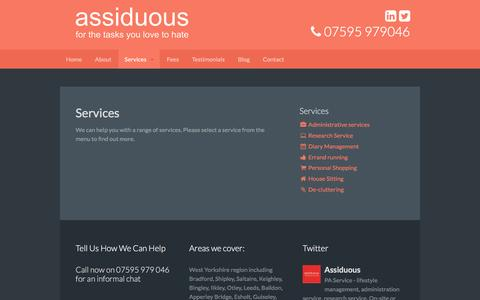 Screenshot of Services Page assiduous-pa.co.uk - Services - Assiduous PA - captured Feb. 6, 2016