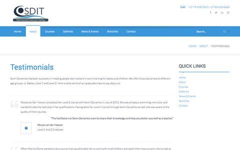 Screenshot of Testimonials Page swimdynamicssa.co.za - Swim Training   Swim Instructor Courses   Enhancement Programmes - captured Nov. 5, 2014