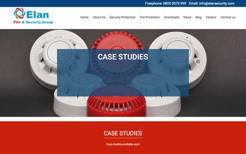 Screenshot of Case Studies Page elansecurity.com - Elan Fire and Security Group Case Studies - captured Sept. 27, 2018